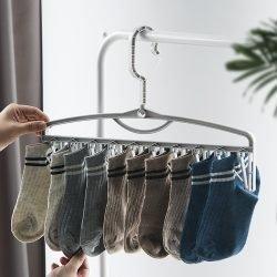 多功能可旋转袜架收纳神器防风吹晾晒袜子挂衣架无痕防滑家用袜架