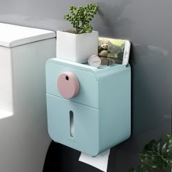 Toilet Roll Tissue Paper Storage Container | Wall-Mounted |Drills Free